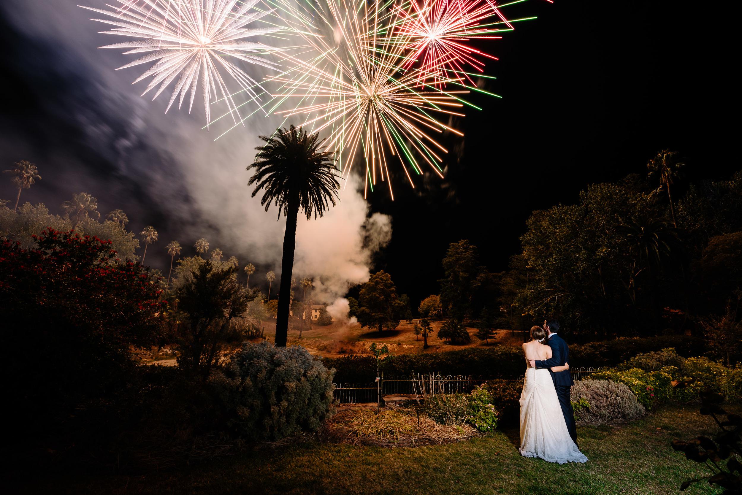 Fireworks at Fortuna Villa Wedding in Bendigo