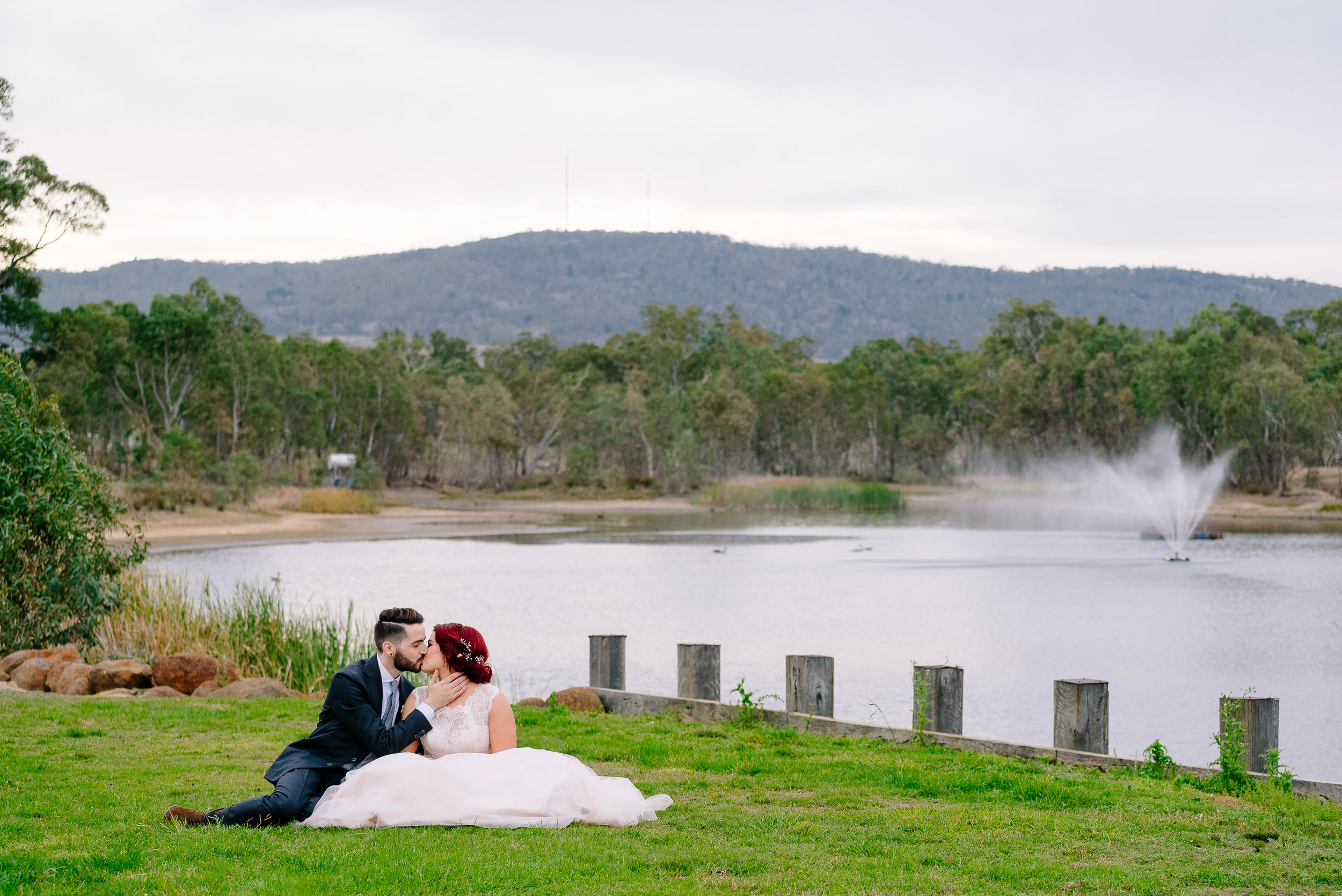 The lake at Sutton Grange Winery Wedding