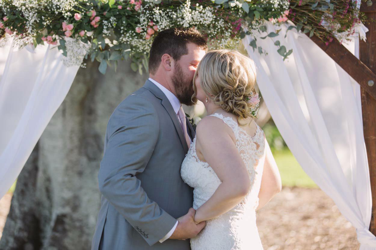 Sunshine Coast, Yandina Station Wedding Ceremony Kiss - Brisbane, Australian Photographers Destination