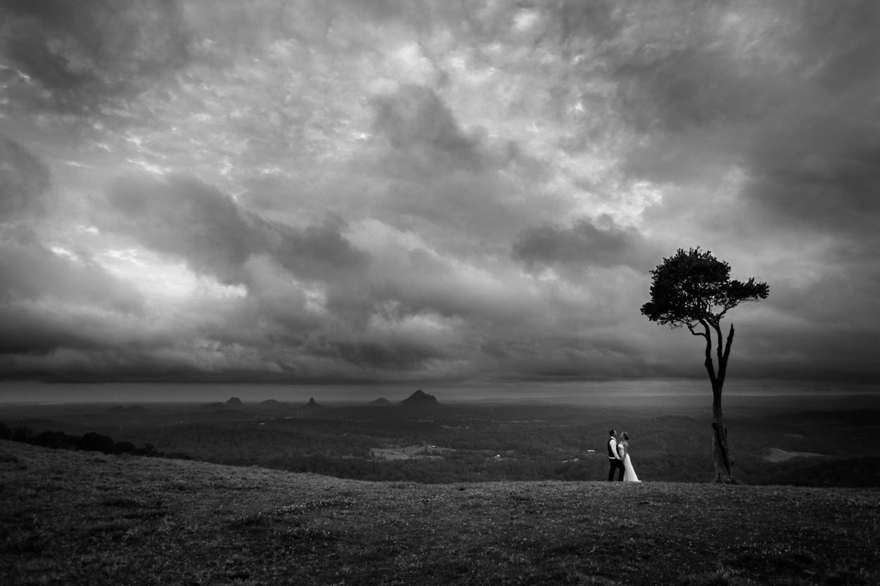 Stormy One Tree Hill, Maleny Wedding Destination Photographers - Brisbane, Sunshine Coast, Australian