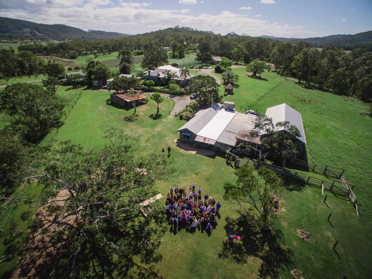 Yandina Station Drone Photo, Destination Wedding - Brisbane, Sunshine Coast, Australian Photographer