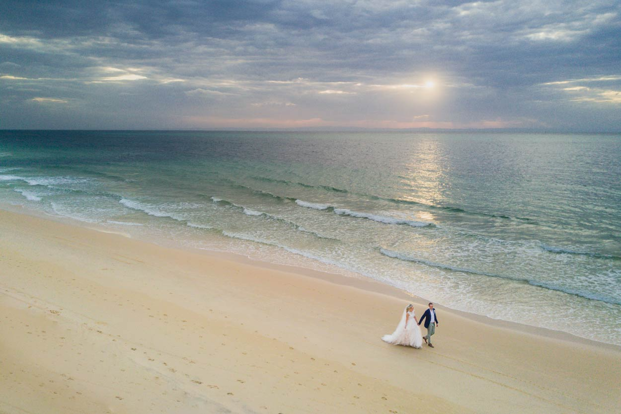 Best Noosa & Tangalooma Resort Drone Destination Wedding - Sunshine Coast, Queensland, Australian Blog Photographer