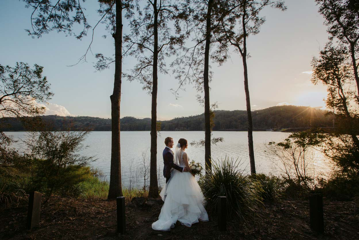 Lake Baroon Montville Drone Wedding Photographer, Sunshine Coast - Queensland, Australian Destination Aerial Sunset Photos
