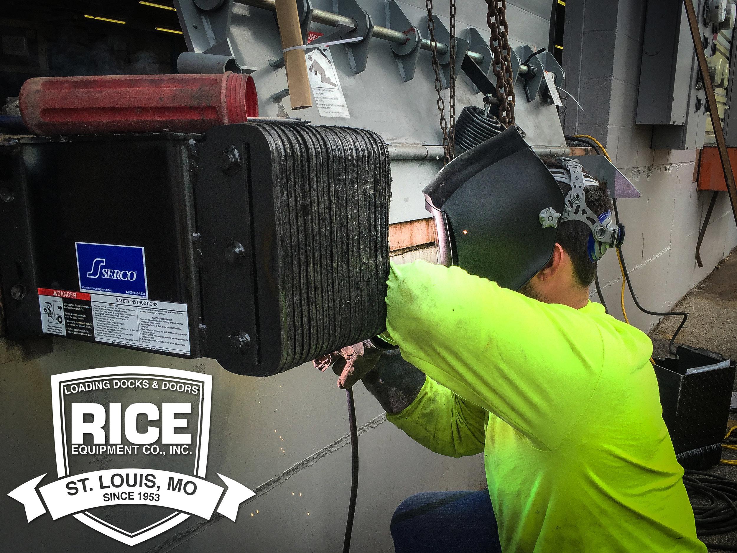 Loading Dock Leveler Installation and Repair Service Bi-State State Region Repair to Kelley Dock Plate St Louis Rice Equipment