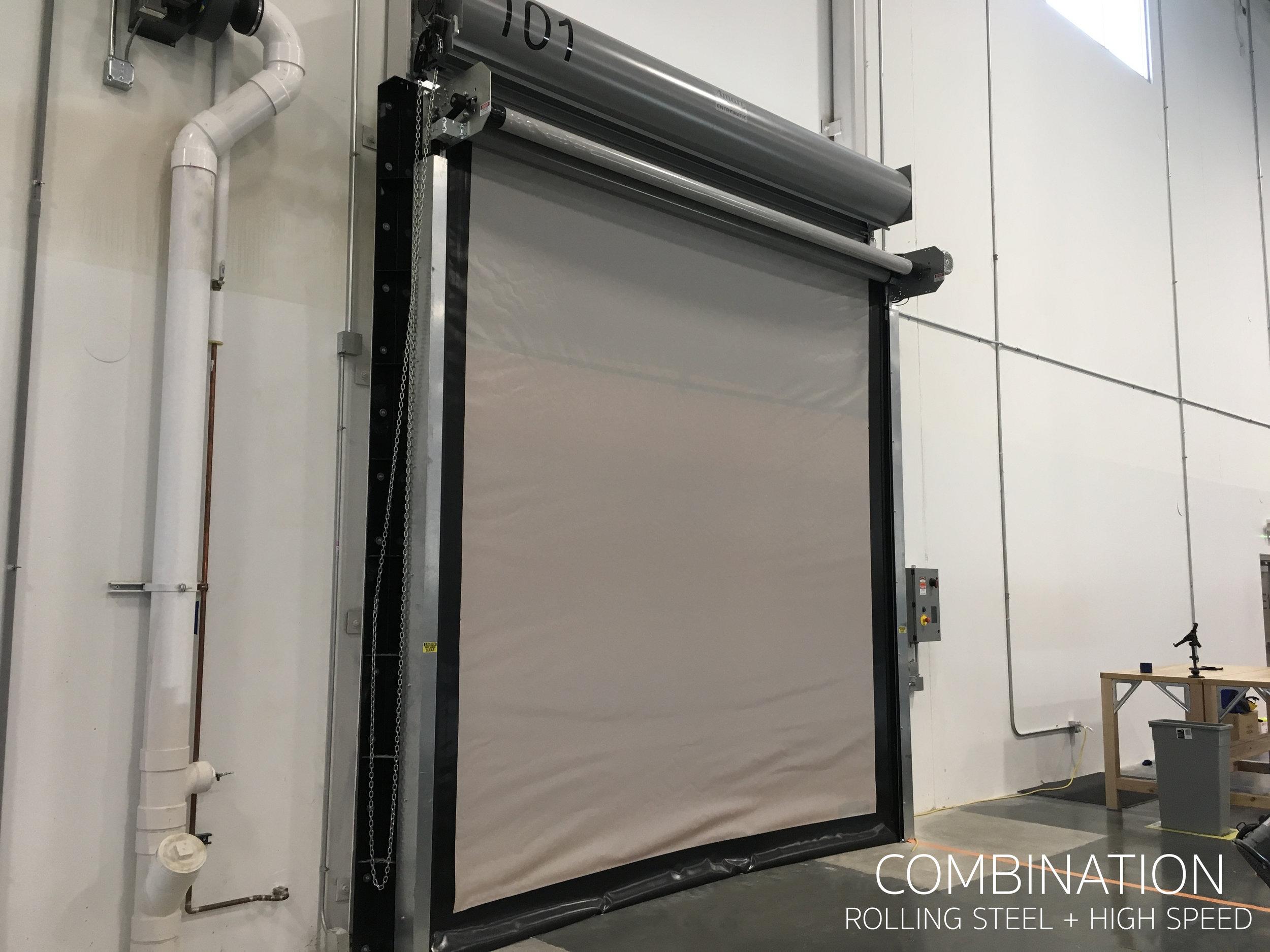 Dual High Speed Door and Rolling Steel Door Used in combination