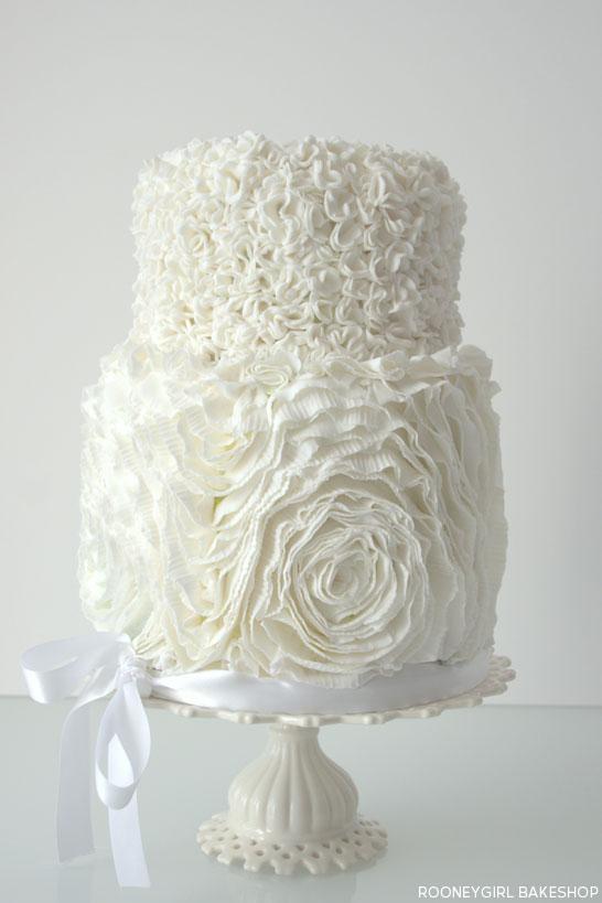 White in White Ruffles Cake