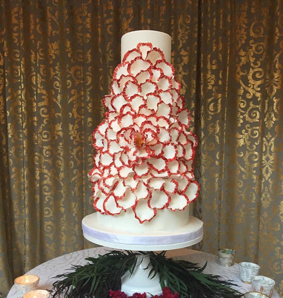 Crimson Exploding Peony Wedding Cake Grace and Honey Cakes Orange County California