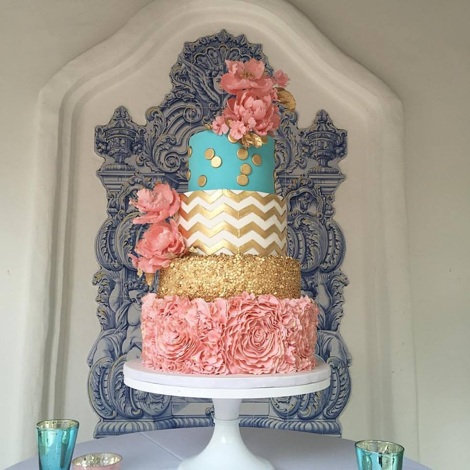 Vintage Circus Pink Teal Gold Wedding Cake Grace and Honey Cakes Orange County California