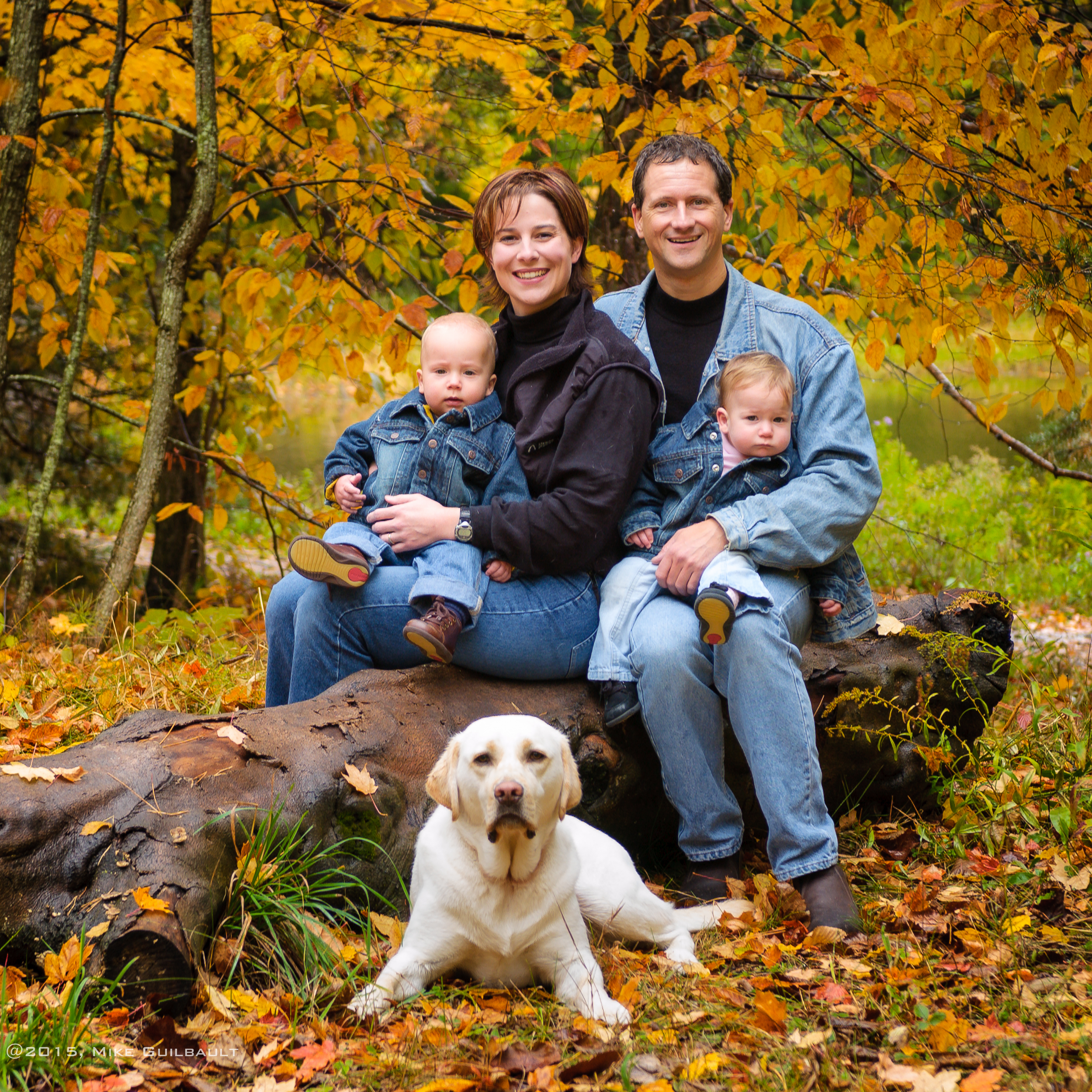 Blue Jeans make for a classic yet contemporary look to a family portrait. And of course the family dog should be in the portrait as well. After all, they are family too.