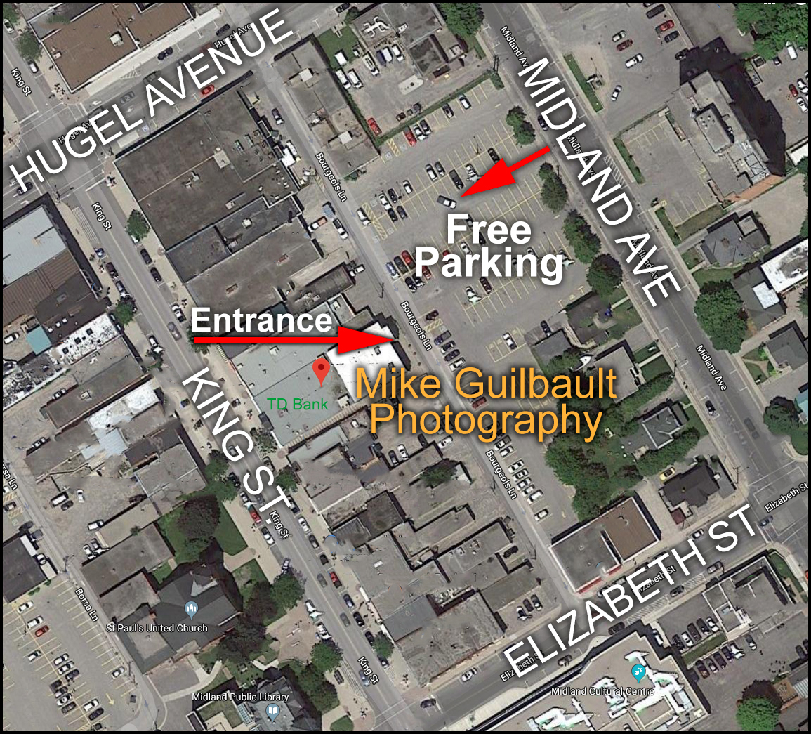 CLICK TO ENLARGE: Access the free, municipal parking lot off Midland Avenue, between Elizabeth St. and Hugel Avenue. Access from King Street via the ally between TD Canada Trust and Bell.