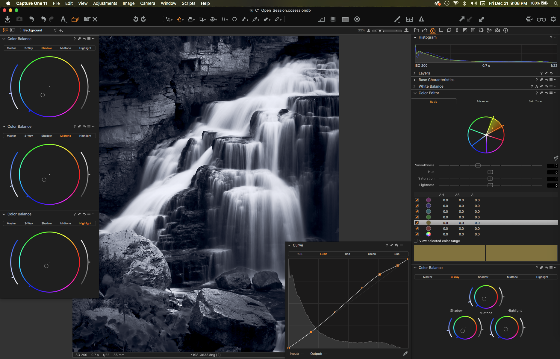 The editing controls in Capture One are second to none. Create custom workspaces for various workflows.