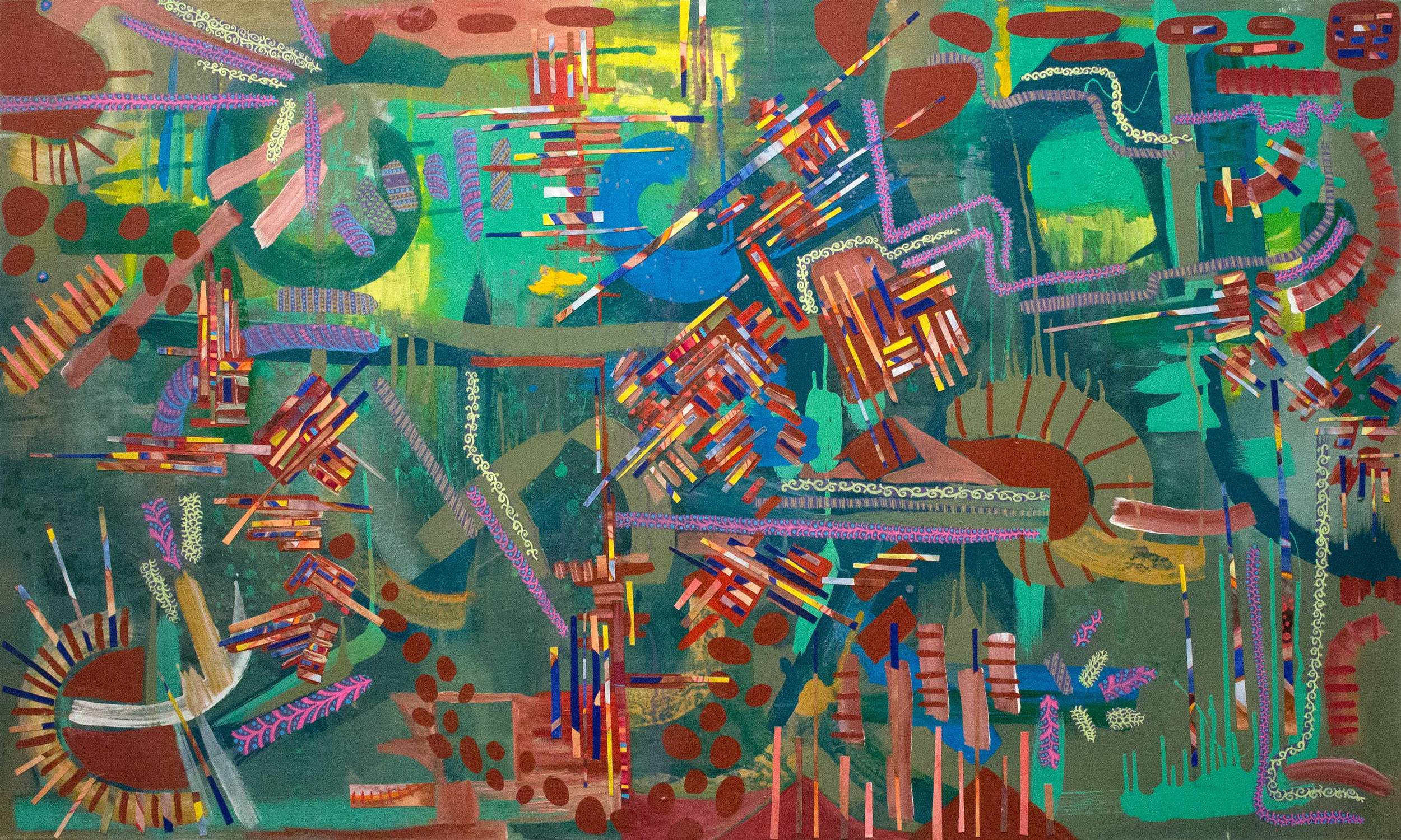 """Acrylic, collage, and house paint on canvas, 60"""" x 36"""""""