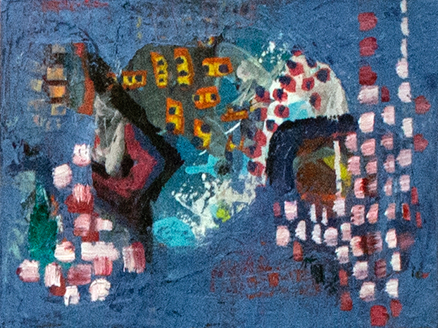 """Acrylic, collage, and oil on canvas, 12"""" x 9"""""""