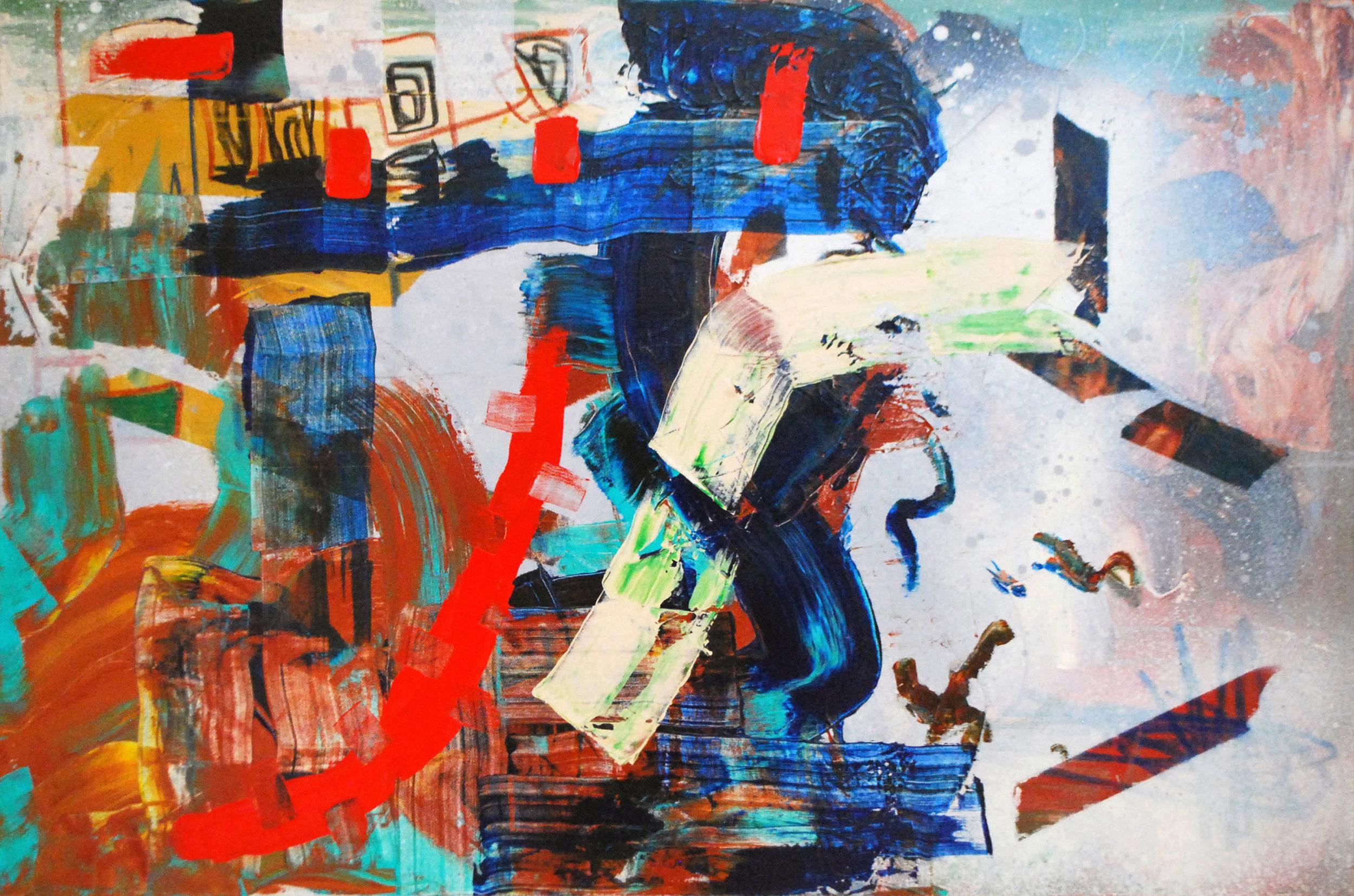 """Acrylic and spray paint on canvas, 36"""" x 24"""""""