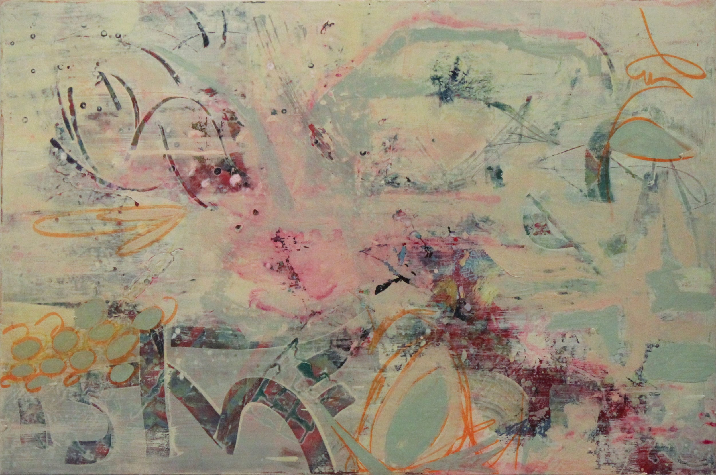 """Paint and serigraphy on canvas, 24"""" x 36"""""""