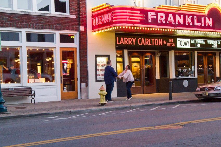 franklin theater engagement session tennessee