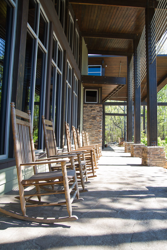 Rocking chairs complete the welcoming feel of The Lodge