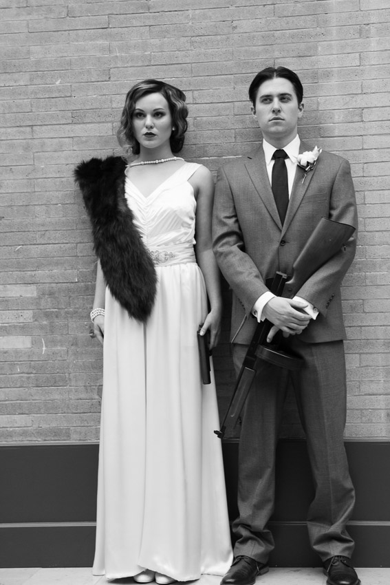 Bonnie and Clyde looking all styled for their wedding