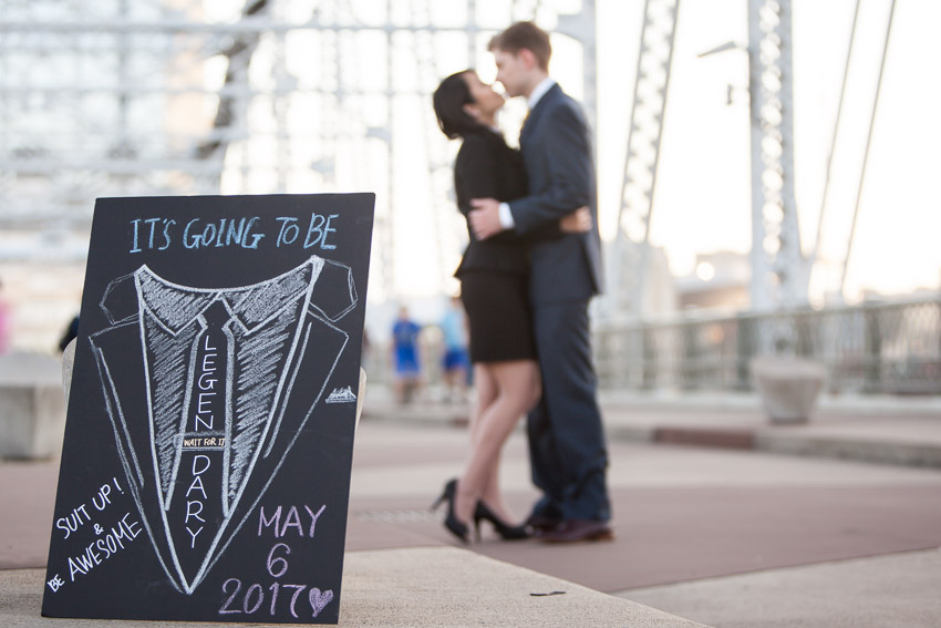 Nashville Wedding Photographer Pedestrian Bridge Engagement Session Photos