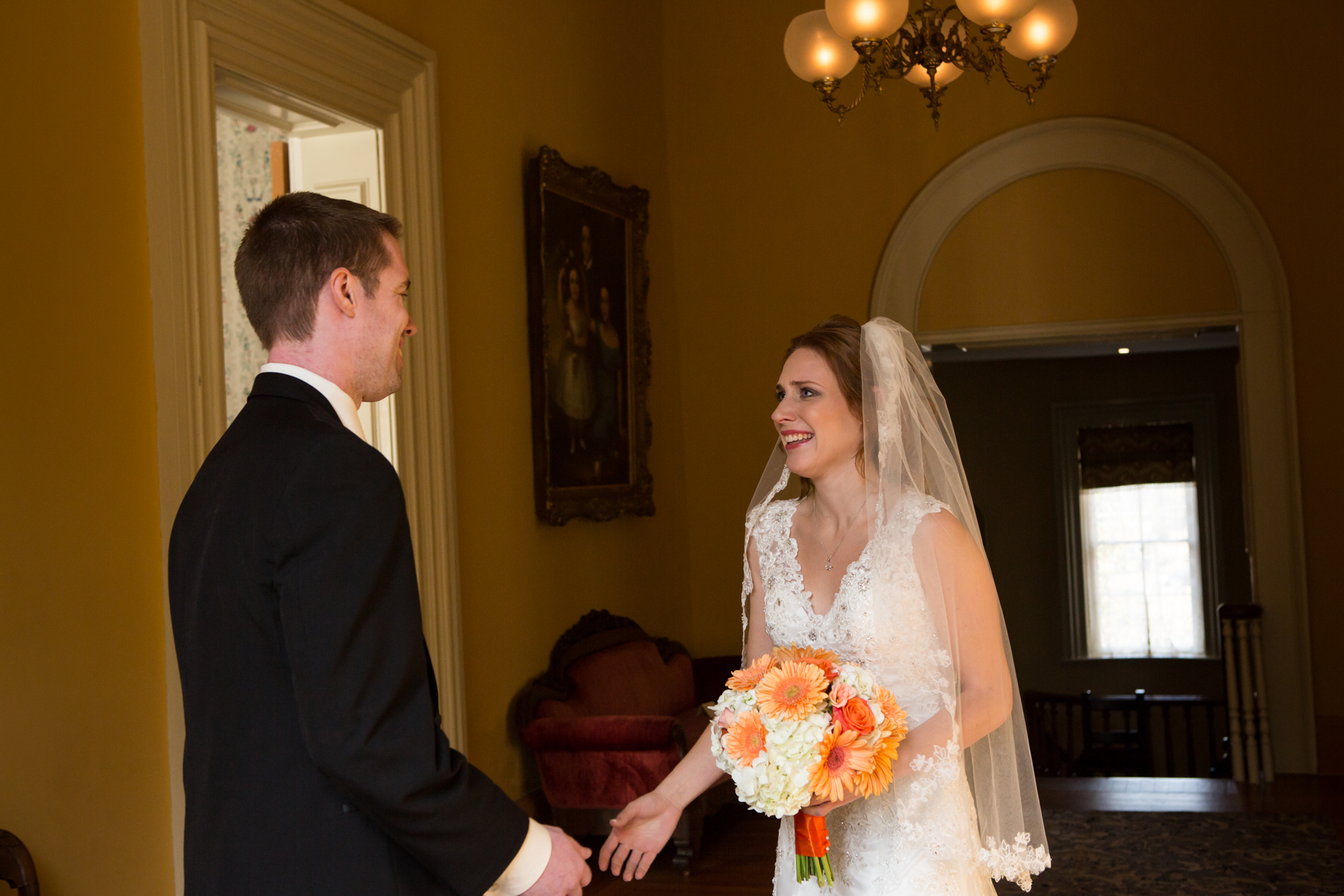First Look Bride and Groom Oaklands Mansion