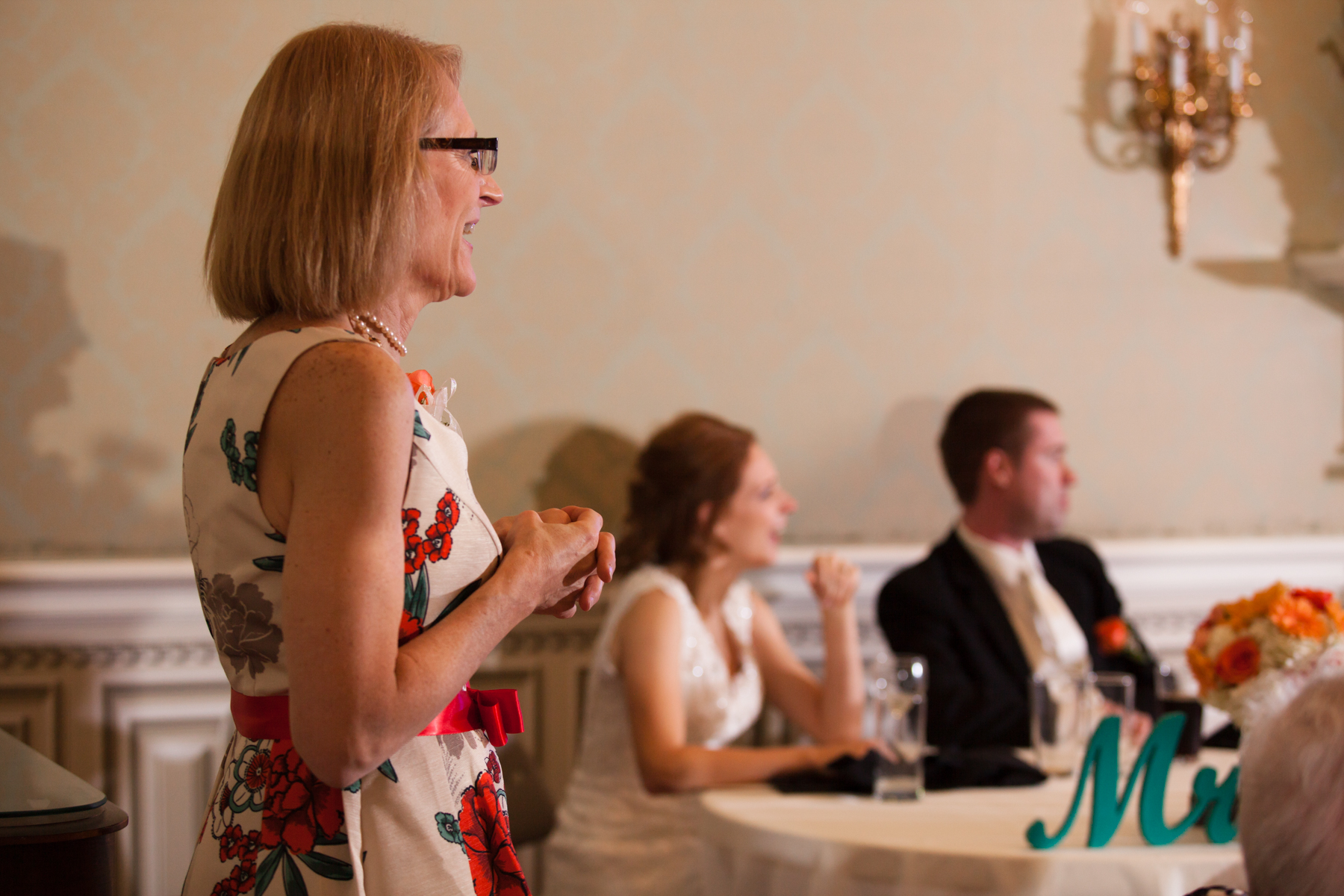 Mother watches toasts at Murfreesboro reception