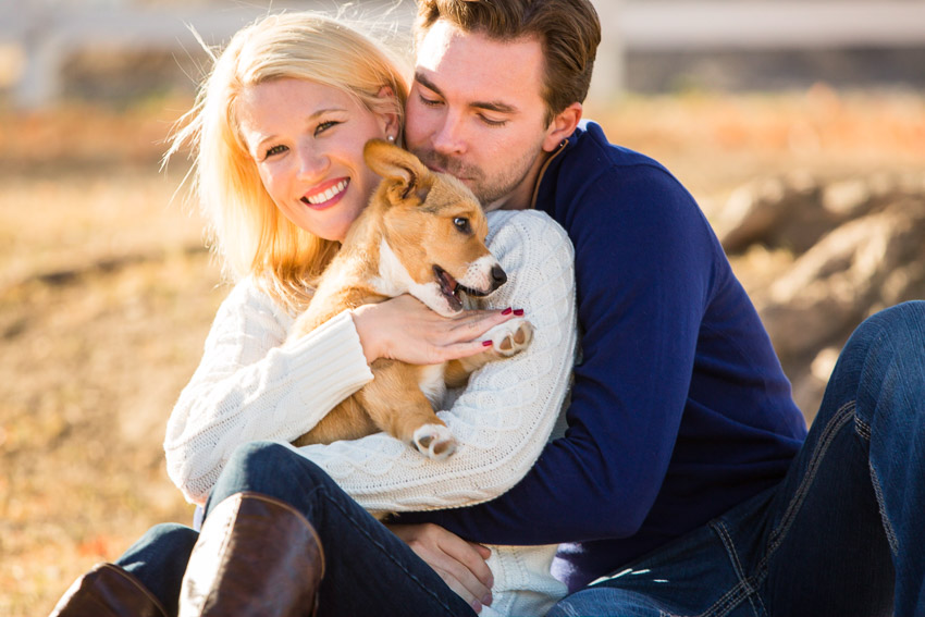 Puppies and engagement session are a great combination. Having your puppy or dog with you at the beginning of your photo session seems to help many couples relax in front of the camera.