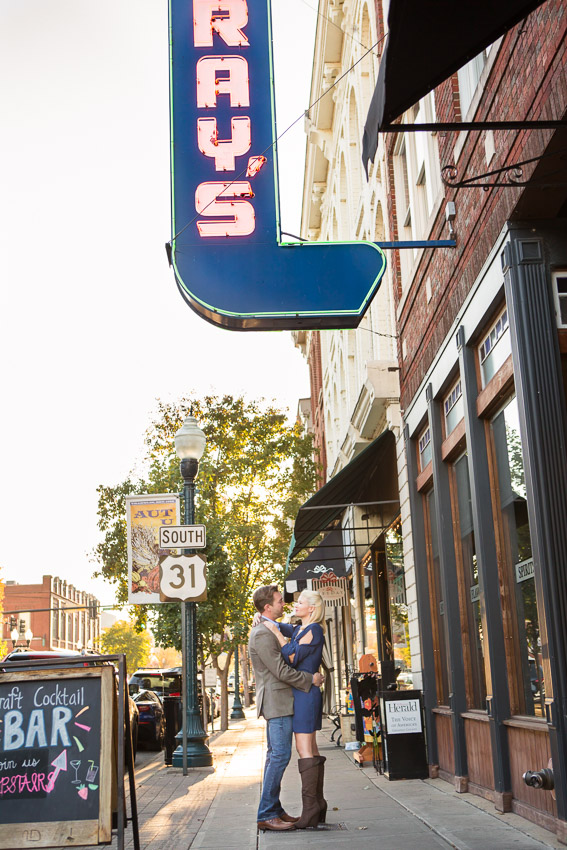 Downtown Franklin has so much character for engagement photos. We love the main street area with all the colors and textures and the sun sets so beautifully at the end of the street.