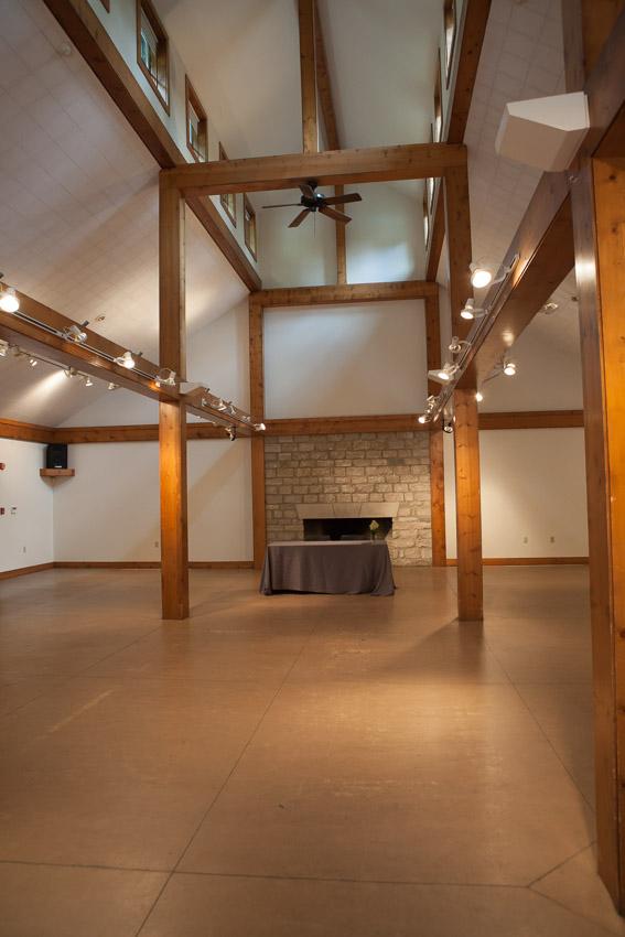 High ceilings inside the barn space
