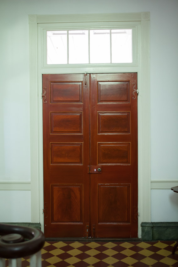Tall wooden doors at the travellers rest