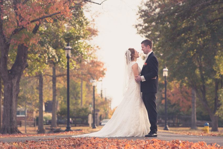 The fall leaves we still abundant and provided such beautiful color for this wedding.