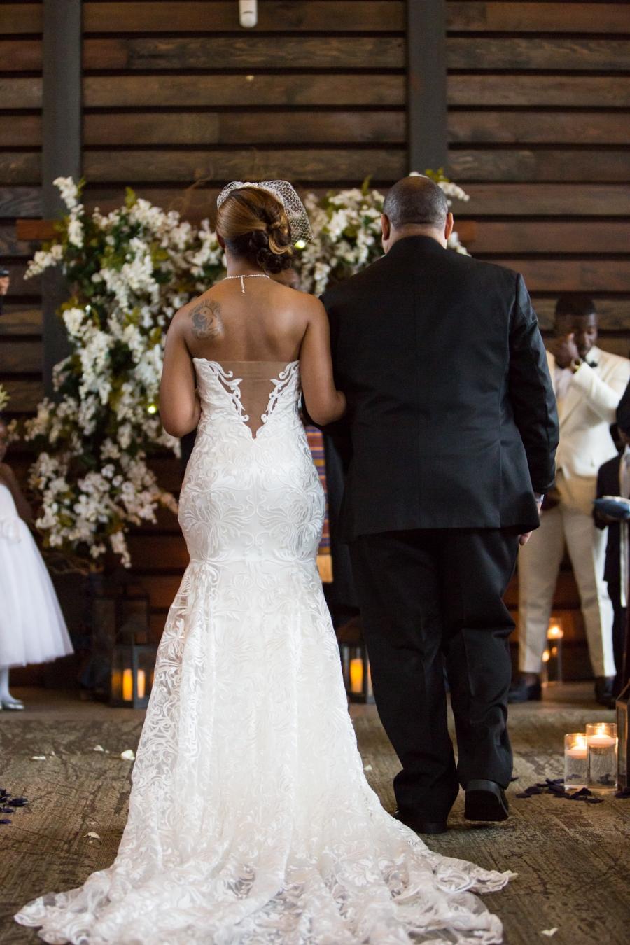 The wedding dress was stunning.