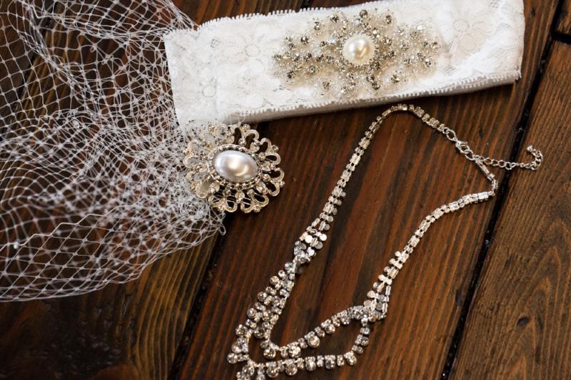 brides veil garter and necklace