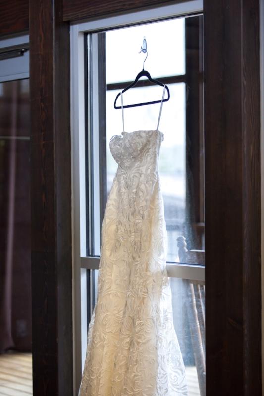 Wedding Dress in getting ready room