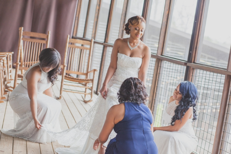 Mom and bridesmaids with bride