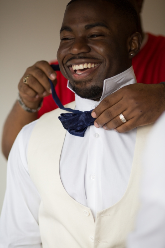 happy groom on wedding day