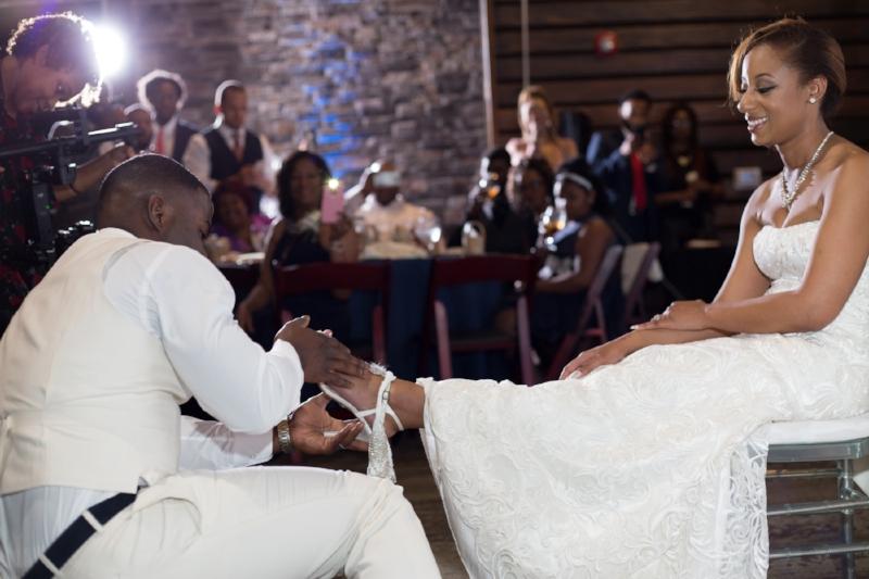 Fun groom and bride