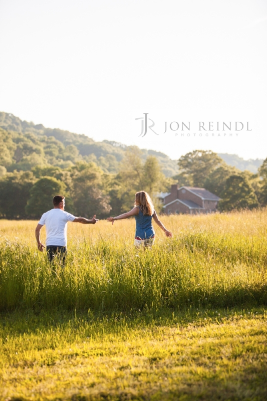 Couple at Sunset Field Drakewood Farm Engagement