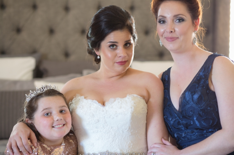 bride and flower girl and maid of honor