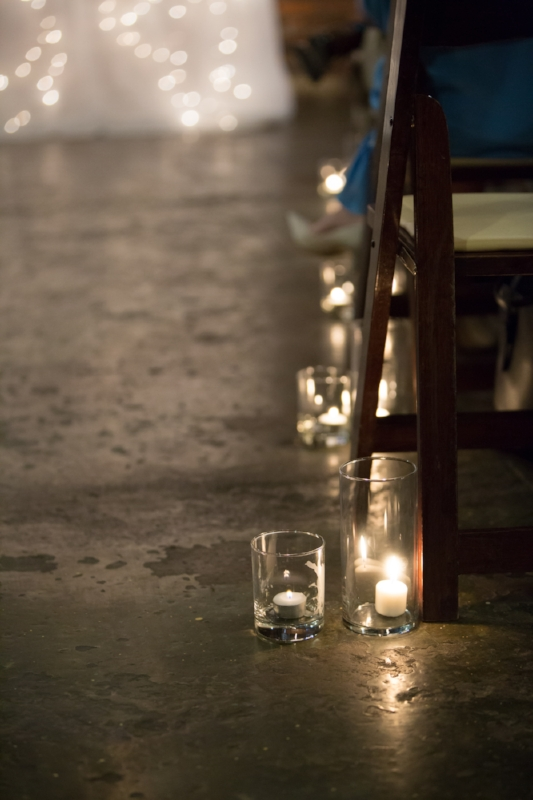 Candle Cups lining the isle for ceremony