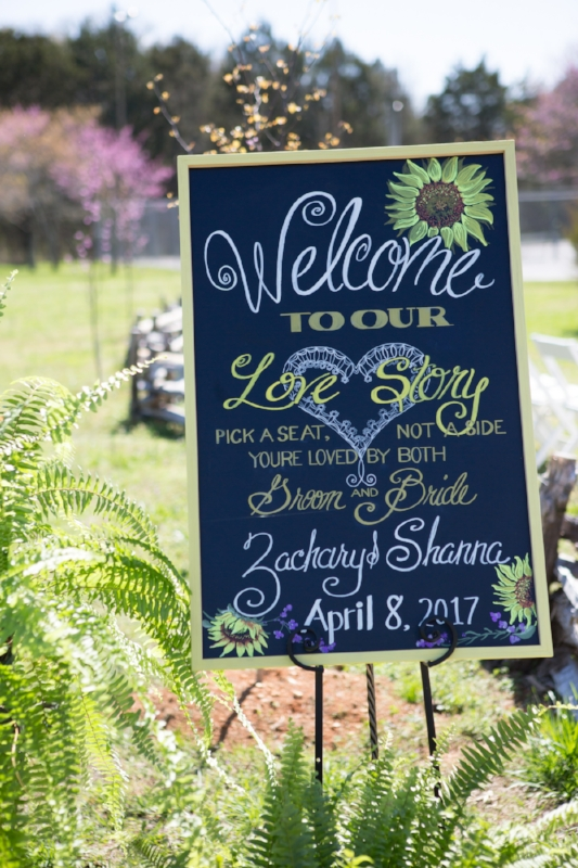 A perfect welcome to a perfect spring wedding day at Cedars of Lebanon State Park