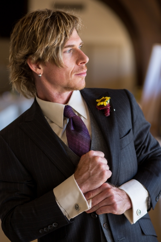 Zach's cufflinks were a gift from his bride, Shanna.