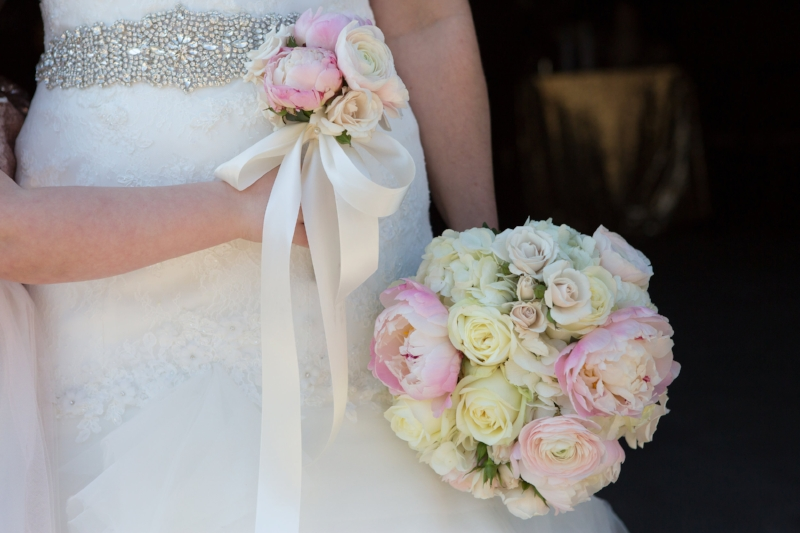 Bridal bouquet and flower girl bouquet by:  Geny's Flowers