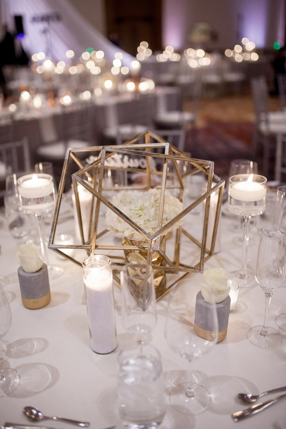 candles and flowers wedding reception