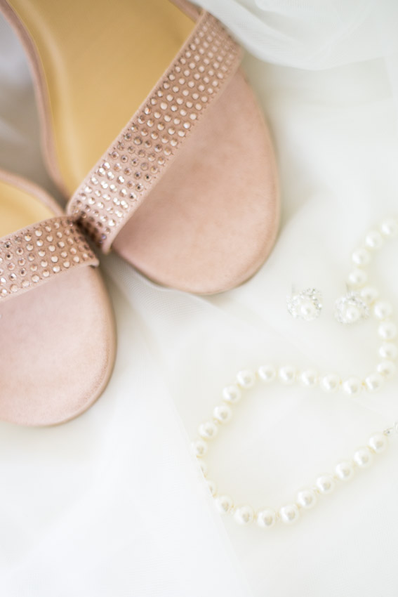 Wedding shoes and pearls