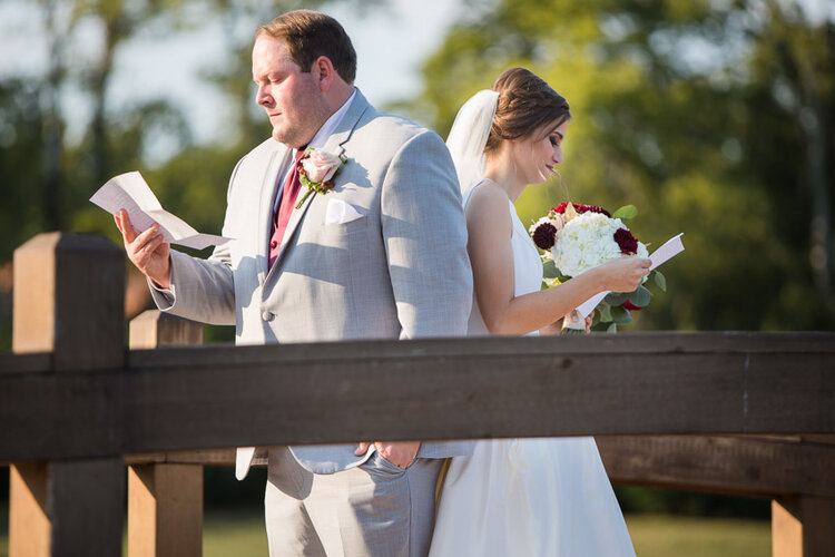 A private letter reading between the bride and groom before the first look.