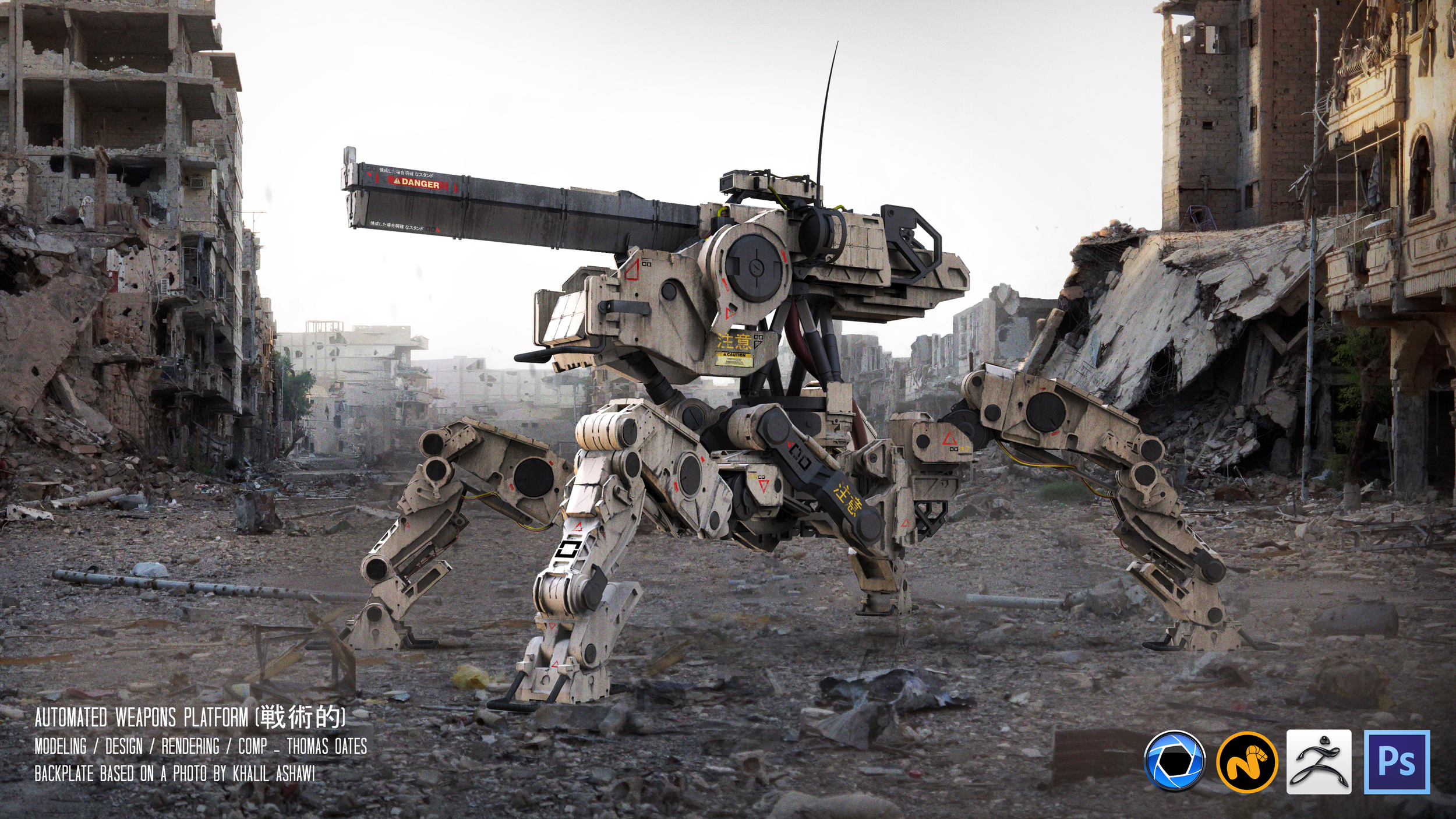 Automated Weapons Platform    The A.W.P is an capable of traversing difficult terrain with ease, It has the mobility to enter remote locations inaccessible or inhospitable to regular soldiers.       Equipped with a variety of weapons this model is fittes with a railgun for engaging long range targets.