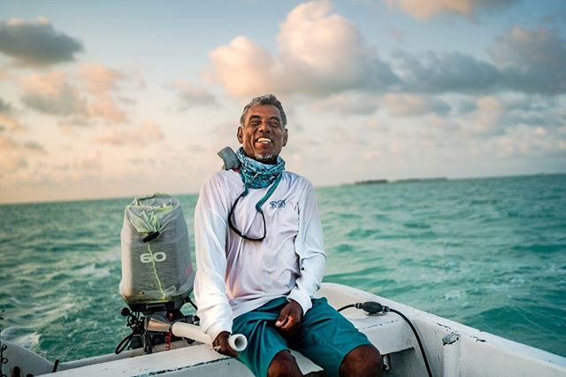 "One of the best things about our Belize trip was getting to know our fishing guides. This is Pani. It was awesome to hear his stories, (lost his hand in a shark incident) thoughts on fishing, politics and life. His laugh and smile were infectious. It's amazing what we can learn, when we open ourselves to another's culture and perspective. ⠀ ⠀ #kansasoutdoorcorps #belize ""bluebonefishlodge #sanpedro #saltwaterflyfishing #flyfishing #permit #tarpon #bonefish #onthefly #panga #ocean #catchandrelease #travel"