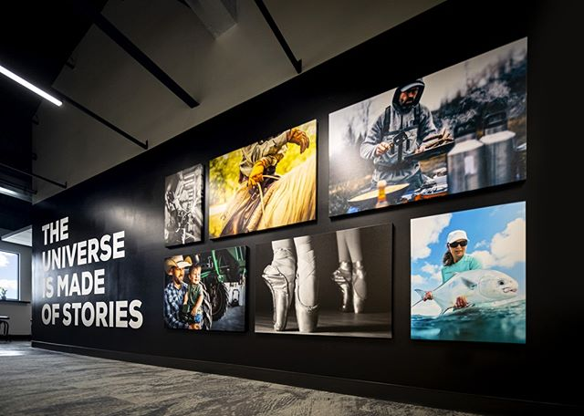 THE UNIVERSE IS MADE OF STORIES.  We're grateful that we get to tell some of them.  Love how this wall at our KOC, @bajillion_agency and @motovikefilms headquarters turned out. Thanks to our amazing photographers for the content and @gomodernprinting for the vinyl install.   #kansas #kansasoutdoorcorps #storytellers #story # #design #branding #creative #art #typography #designinspiration #marketing #brand #interior #production #decor #interiordesign #inspiration