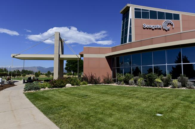 The main entrance at Seagate's Longmont campus on Friday. (  Matthew Jonas / Staff Photographer  )