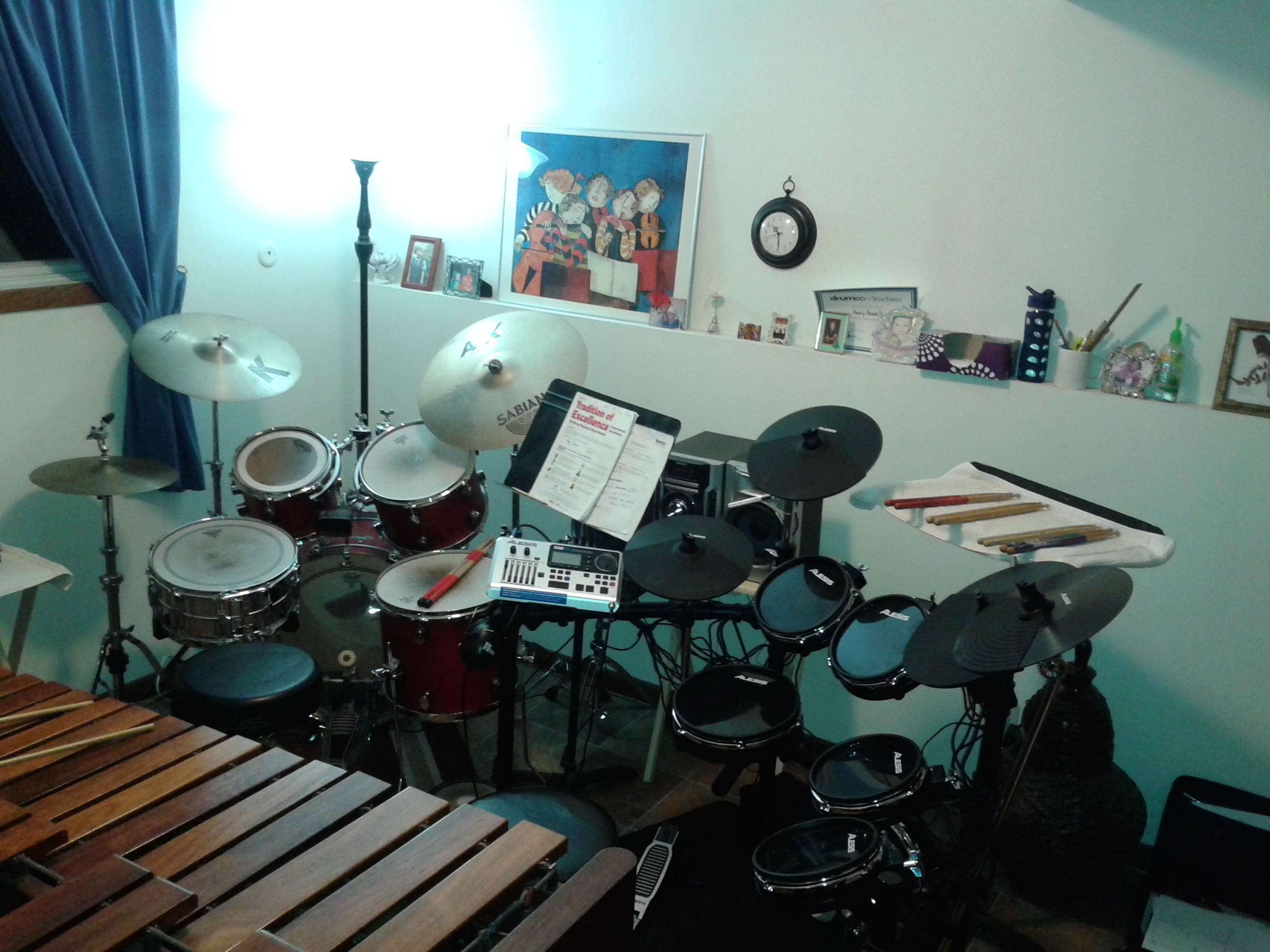 My Teaching Studio! Notice the two drum sets (5 piece acoustic & electric) side by side!